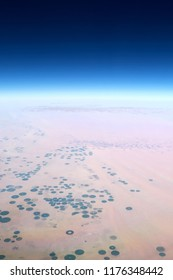 Aerial View of Crop Circles (Center-Pivot Irrigation) in Saudi Arabia