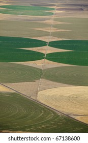 An aerial view of the crop circles created in farm fields by center pivot sprinklers.