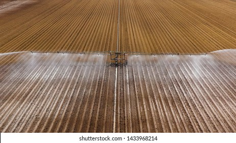 aerial view crop irrigation machine using center pivot sprinkler system. An irrigation pivot watering agricultural land. Irrigation system watering farm land.