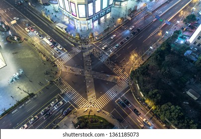 Aerial View of  crossroads in Modern City