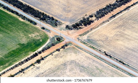 Aerial view of a crossroads in rural Western Australia