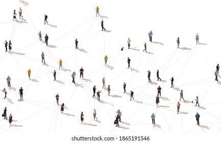 Aerial view of crowd people connected by lines, social media and communication concept. Top view of men and women isolated on white background with shadows. Staying online, internet, technologies.
