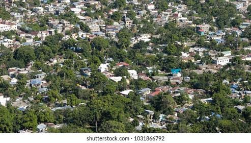Aerial view of crowded shacks in the Dominican Republic.
