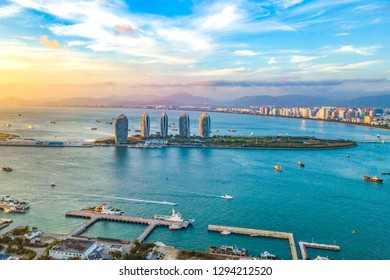 Aerial View of Cruise Home Port and Luxury Hotels on Phoenix Island, Landmark Architecture of Sanya City, Hainan Province, China