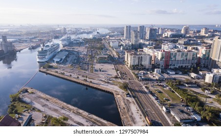 Aerial view of cruise port and downtown area in Tampa, Florida.