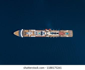 Aerial view of cruise ship in dark blue water.  Location is the Ionian Sea, near Saranda, Albania and Corfu, Greece.