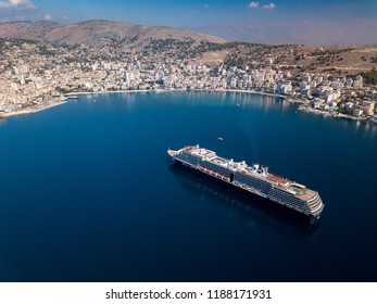 Aerial view of cruise ship in Saranda, Albania.  Sea, mountains and cruise liner.