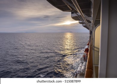 Aerial view from the cruise ship and sunset