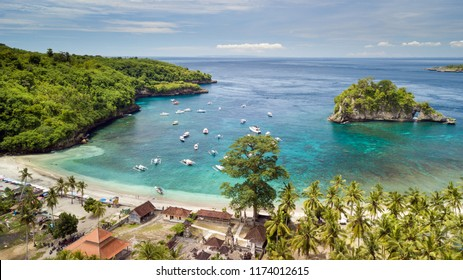 Aerial view of the Crystal bay coastline and beach, Nusa Penida island, Indonesia