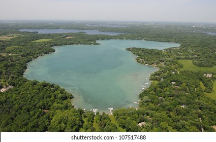 Aerial View of crystal clear lake, Beaver Lake Wisconsin