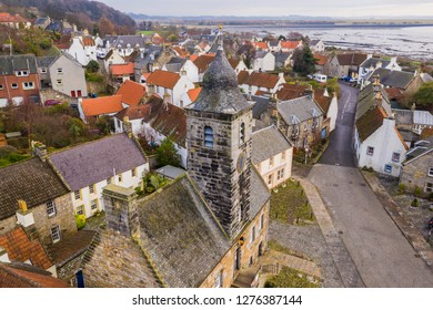 Aerial view of Culross town with it's beautiful 17th century Palace, the merchant's house and traditional Scottish cottages.