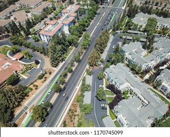 Aerial view Cupertino town in Silicon Valley, California, group of apartments complex, hotels and busy traffic on Wolfe road