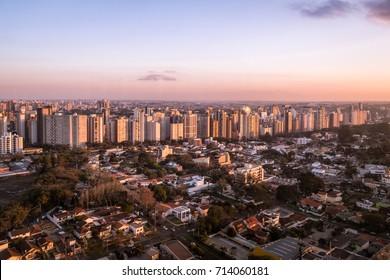 Aerial view of Curitiba City at sunset - Curitiba, Parana, Brazil