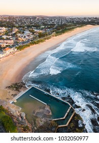 Aerial view of Curl Curl Beach, NSW coastline with its rock pool.
