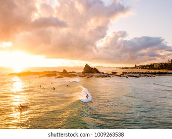 An aerial view of Currumbin Alley at sunrise on the Gold Coast in Queensland in Australia