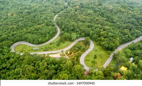 Aerial view curve road  in Sakon Nakhon Thailand.