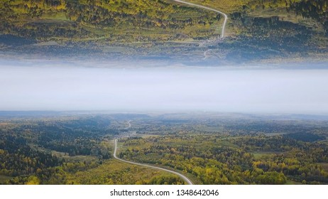 Aerial view of a curved empty road in a forest in a summer day, mirror horizon effect. Green forest country road, view from above, inception theme.
