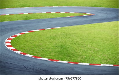 Aerial view curving race track
