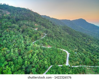 Aerial view of curvy mountain road through a jungle ay sunset
