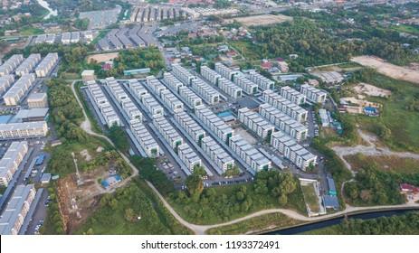 Aerial view of Cybercity Apartment Building, Kepayan, Kota Kinabalu, Sabah. Borneo. Malaysia.