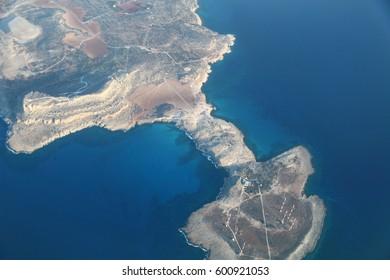 Aerial view of Cyprus coastline.