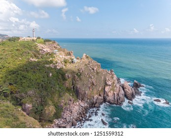 Aerial view of Dai Lanh Cape and Mui Dien light house in a sunny day, Mui Dien, Phu Yen province - The eastermost of Vietnam