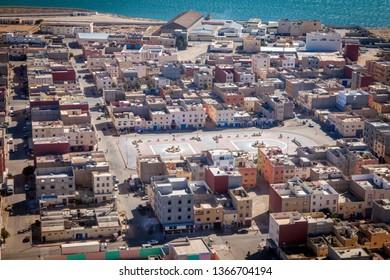 Aerial view of Dakhla. Dakhla, Western Sahara, Morocco.