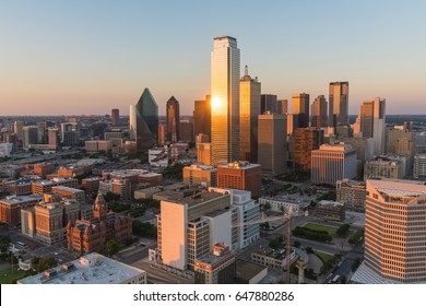 Aerial view of Dallas, Texas city skyline at sunset
