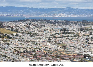 Aerial View of Daly City and Brisbane from San Bruno Mountain State Park. San Mateo County, California, USA.