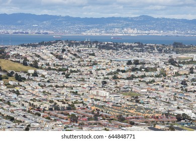 Aerial View of Daly City and Brisbane from San Bruno Mountain State Park, USA