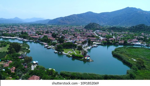 Aerial view of Dalyan town. Turkey.