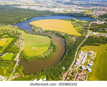 Aerial view of dam Ceske udoli near Pilsen city. Beautiful scenery of lake in summer weather. Recreational resort from above, Western Bohemia, Czech republic. - Shutterstock ID 2010802142