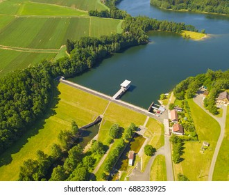Aerial view of dam. Water reservoir Trnavka from above in Vysocina, Czech republic, European union.