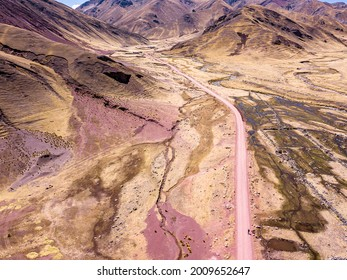 Aerial view of dangerous high-mountain road in Andes, South America