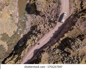 Aerial view of dangerous mountain road in Andes, Peru