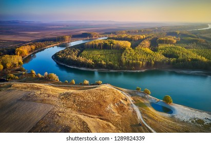 aerial view of the Danube river shore in summer, Dobrogea, Romania