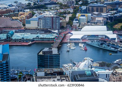 Aerial view of Darling harbour in Sydney Australia