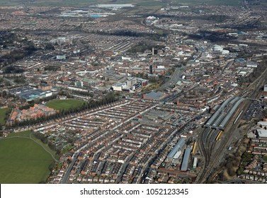 aerial view of Darlington town centre skyline, County Durham, UK
