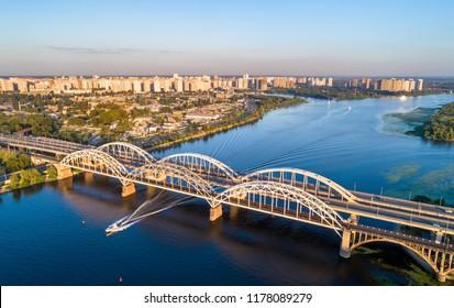 Aerial view of the Darnytsia arch bridges across the Dnieper in Kiev, Ukraine