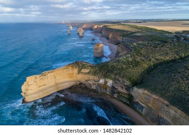 Aerial view, dawn at 12 Apostles