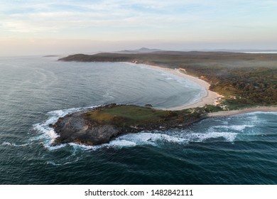 aerial view, dawn, coastline, Angourie Point