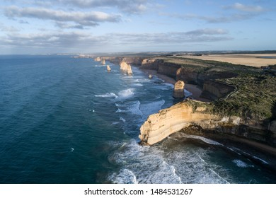 Aerial view of dawn at the12 Apostles