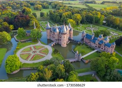 Aerial view of De Haar Castle in Dutch Kasteel de Haar is located in Utrecht Netherlands the current buildings all built upon the original castle, date from 1892. Haarzuilen, utrecht. 06-10-2019