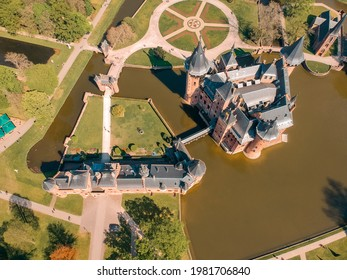 Aerial view of De Haar Castle located in Utrecht Netherlands dates back from 1892. Drone shot of the Dutch Kasteel de Haar
