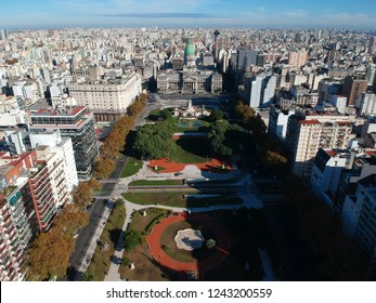 Aerial view of De Mayo Avenue and the Congress of the Argentine Nation, Buenos Aires, Argentina.