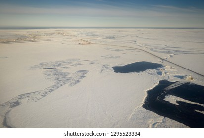 Aerial view of Deadhorse and the Sag river at Prudhoe Bay Beaufort Sea Arctic Ocean Alaska