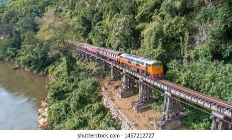 Aerial view Death Railway at cave Krasae, Kanchanaburi, Thailand