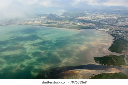 Aerial view of Deception Bay near Brisbane, Queensland.