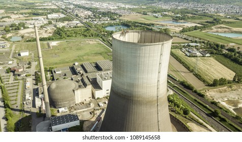 aerial view of the  Decommissioned nuclear power plant Muelheim-Kaerlich Germany April 2018