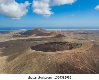 aerial view of the deep cauldron volcano in fuerteventura